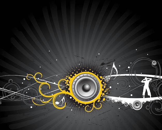 A man enjoy music in wave background , vector illustration