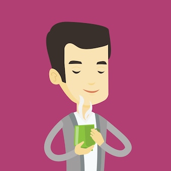 Man enjoying cup of coffee.