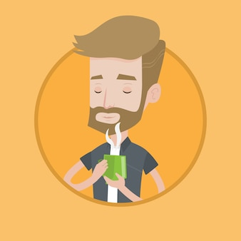 Man enjoying cup of hot coffee vector illustration