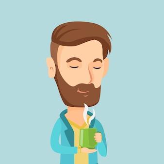 Человек, наслаждаясь чашкой кофе векторная иллюстрация