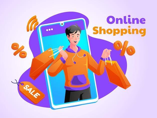 Человек, наслаждающийся покупками в интернете с мобильным телефоном