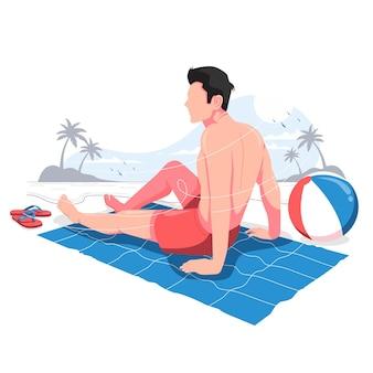 ビーチで夏を楽しむ男ベクトルイラスト