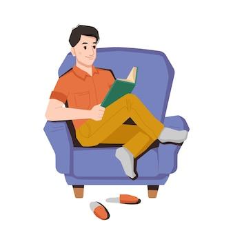 男は椅子の下のスリッパの肘掛け椅子のペアに座って本を読むことを楽しんでいますベクトル男は読んだ
