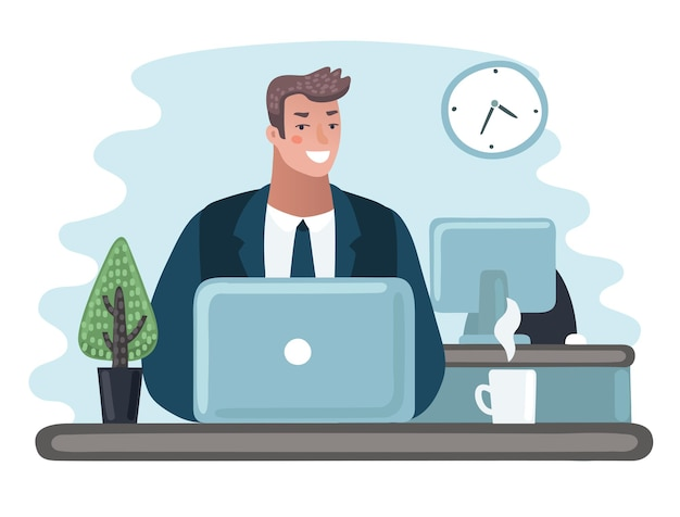 ラップトップ コンピューターで作業するスーツを着た男性起業家