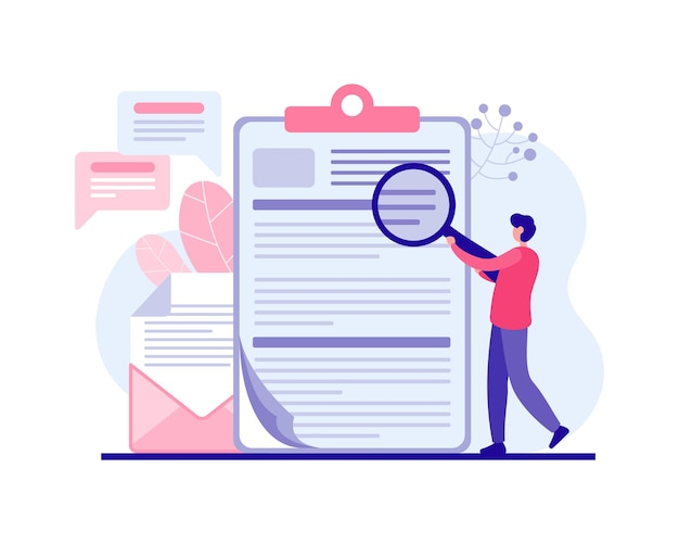 Man examining promotional emails with discounts  flat illustration. male character with magnifying glass analyzing web marketing offers and looking holiday sales. happy shopping eve holidays.