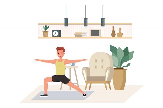 캐릭터 집에서 운동하는 남자. 건강한 라이프 스타일과 건강 개념.