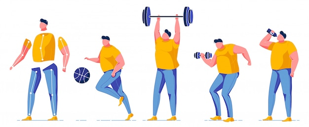 Man exercising in gym constructor for animation.