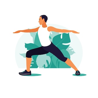 Man exercising in the park. outdoor sports. healthy lifestyle and fitness concept.   illustration in flat style.