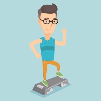 Man exercising on stepper vector illustration.