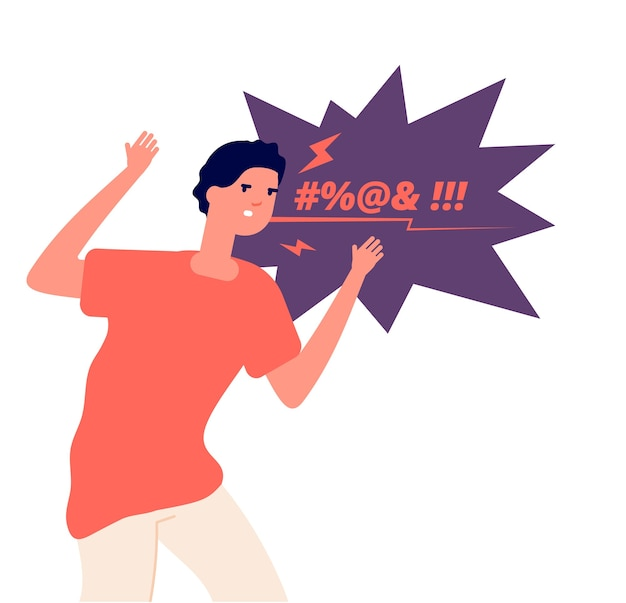 Man expressing anger. irritated character, angry screaming man. aggressive frustrated person swears in face, vector concept. person angry, anger young stress expression illustration