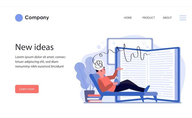 Человек, выражающий свои идеи для дневника. шаблон веб-сайта или целевая страница