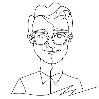 Man in eyeglasses smiling portrait one line art. happy male facial expression. hand drawn linear man silhouette.