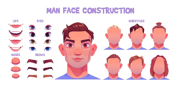 Man face constructor, avatar of caucasian male character creation heads, hairstyle, nose, eyes with eyebrows and lips.