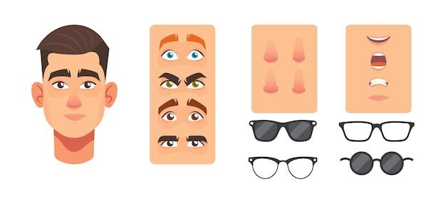 男の顔コンストラクター要素、アバターの作成。白人男性キャラクターの頭、鼻、目、眉毛、眼鏡、口または唇。白い背景で隔離の顔の構造、漫画ベクトルセット