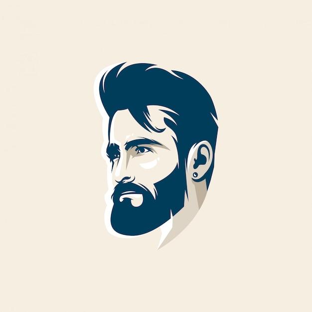 Человек лицо дизайн логотипа премиум