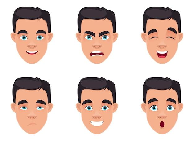 分離された男の表情デザインイラスト