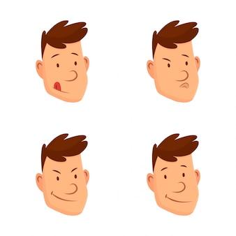 男の顔の表情。さまざまな男性の顔の感情のセット。魅力的な漫画のキャラクター。幸せ、悲しい、驚いた、恋愛、笑い、その他の感情