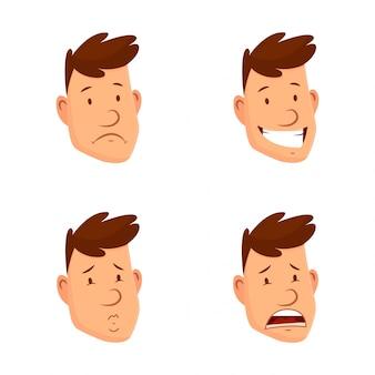 男の顔の表情。さまざまな男性の顔の感情のセット。魅力的な漫画のキャラクター。幸せ、悲しい、驚いた、疲れた、笑い、その他の感情