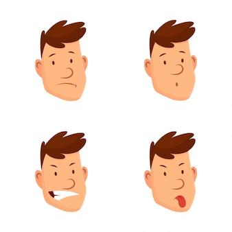 男の顔の表情。さまざまな男性の顔の感情のセット。魅力的な漫画のキャラクター。悲しい、疲れた、笑った、怒った、その他の感情