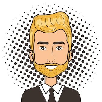 Человек лицо в мультфильм поп-арт комический стиль