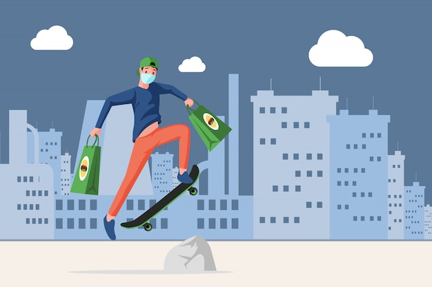 Man in face mask holding bags with fast food and riding on skateboard in the city   cartoon illustration.