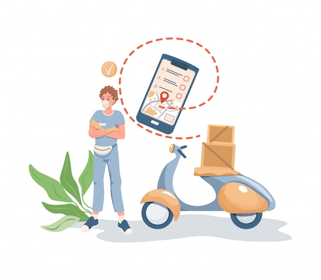 Man in face mask standing near motorbike or scooter with boxes and parcels on it flat cartoon illustration.