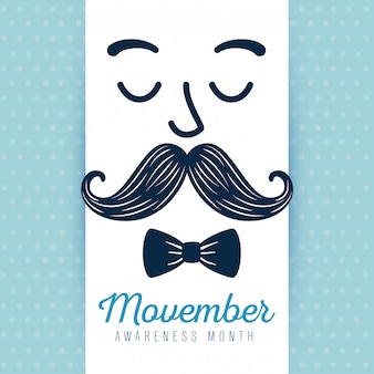 Man face with mustache and tie bow movember illustration