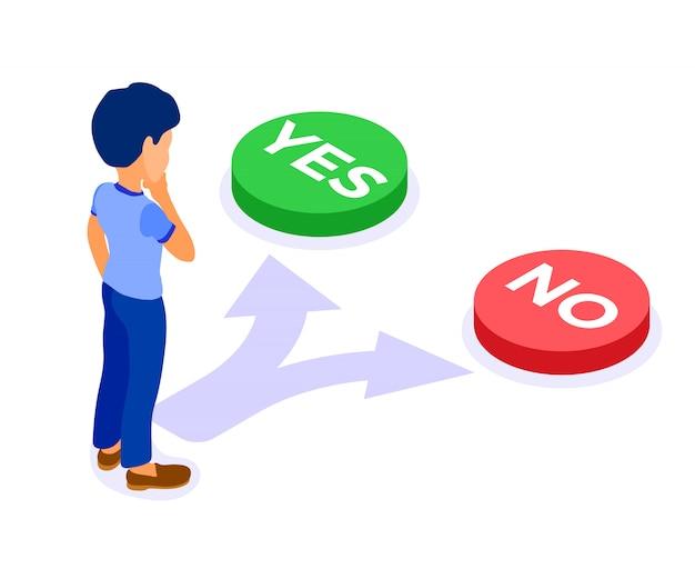 남자는 예 또는 아니오 선택에 직면