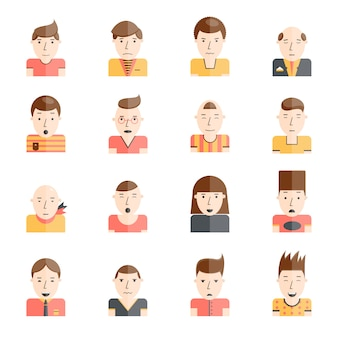 Man faces collection with mood expressions flat icons set isolated vector illustration