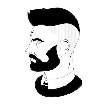 Man faces vector profiles. hair and beard. vector illustration