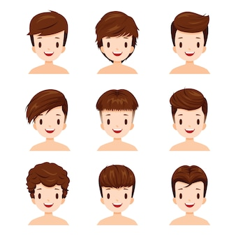 Man faces with different hairstyles set