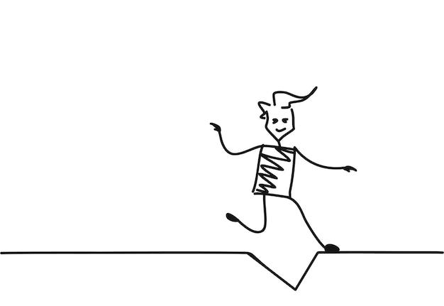 Человек падает, мультфильм рисованной эскиз векторные иллюстрации.