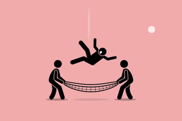 남자는 아래로 떨어지고 안전망에 의해 저장됩니다. 안전, 보안, 보험, 도움 및 지원의 개념.