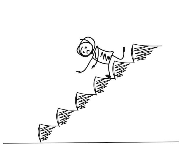 Man falling on down stairs, cartoon hand drawn vector background.