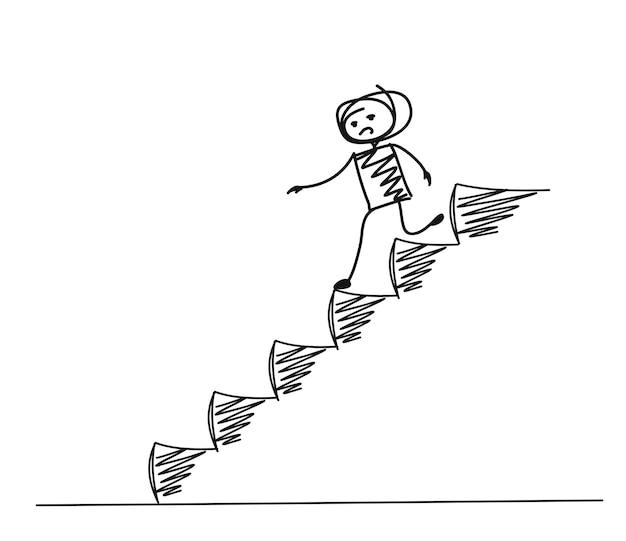 Человек падает на лестницу, мультфильм рисованной векторный фон.