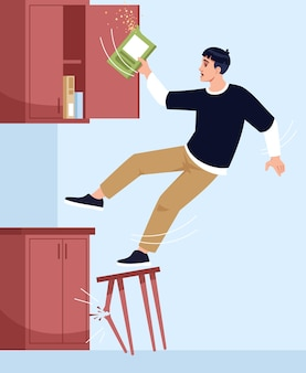 Man falls off chair semi   illustration. broken chair leg. dining room. opened wall cabinet with cereal inside. light mess in kitchen  chartoon characters for commercial use
