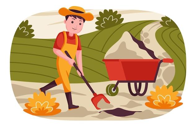 남자 농부는 식물을 심기 위해 땅을 파고 있습니다.