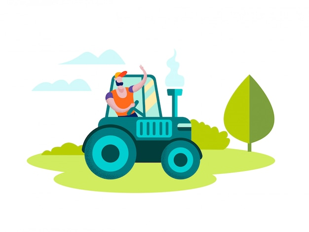 Man farmer driving tractor on nature landscape