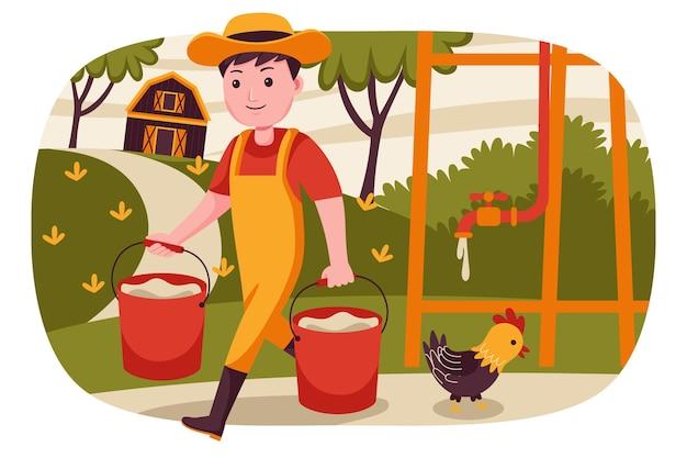 남자 농부는 컨테이너에 물을 들어 올립니다.