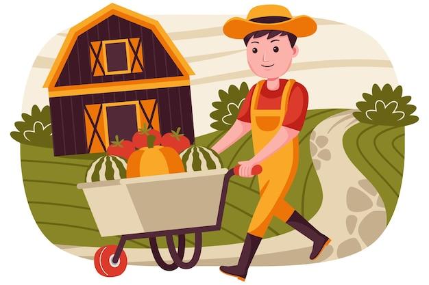 Мужчина-фермер толкает тележку, торгуя арбузами, помидорами и тыквами.