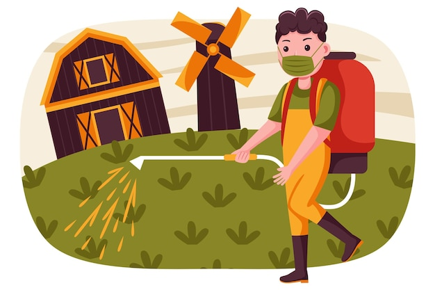 Фермер человек распыляет пестициды на ферме с маской носки.