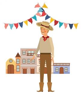 Man farmer with houses of neighborhood