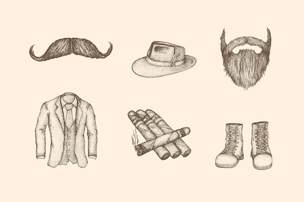Man fashion vintage illustration with hand drawn style