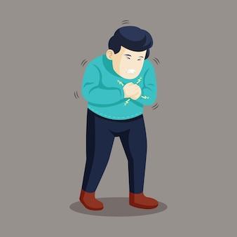 남자는 가슴 통증을 느낍니다. 심장 마비 또는 심장병 증상.