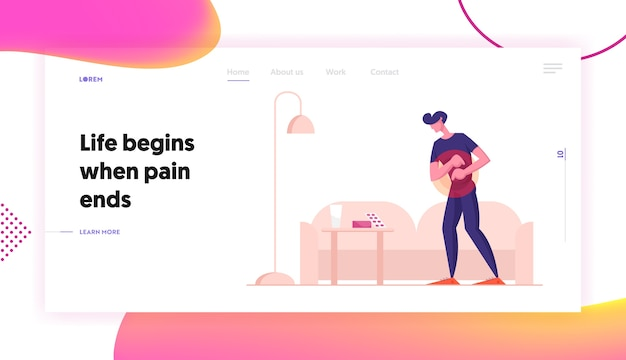 Man feel pain in stomach website landing page