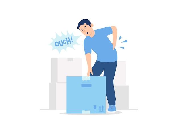 Man feeling back pain backache cramp rheumatism muscle spasm while lifting box concept illustration