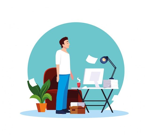 Man feeling sick at home vector design
