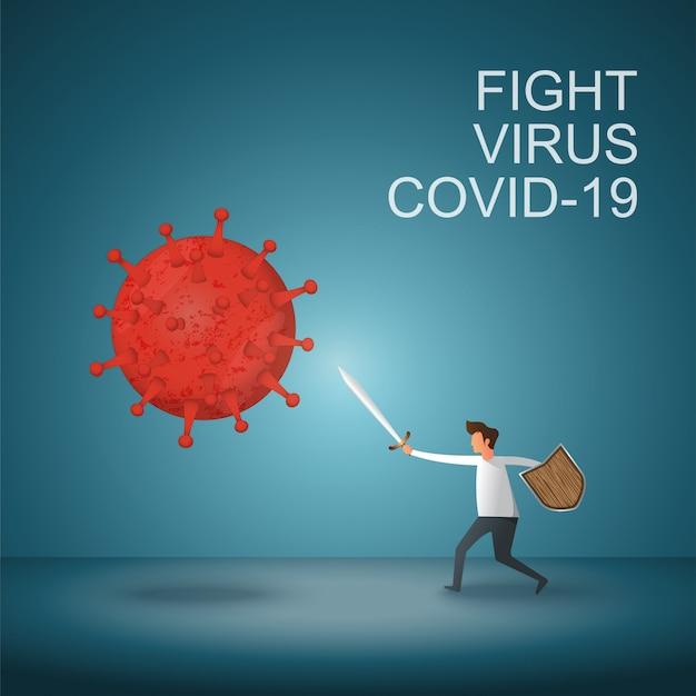男はcovid-19コロナウイルスと戦います。コロナウイルスを治します。人々はウイルスの概念と戦います。コロナウイルスワクチンの概念。