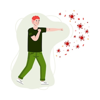 Man fighting with virus and bacteria cartoon illustration