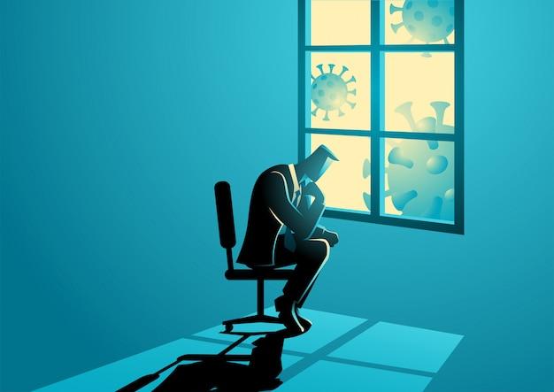 悲しいことに窓の近くに座っている男図